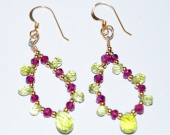 Peridot, Garnet & Gold-filled Earrings