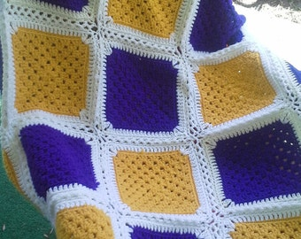 Crocheted LSU Granny Square Throw Blanket
