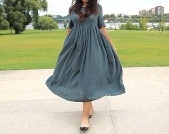 Aeon Linen Maxi Dress / Kaftan - Plus and Regular Size - Vintage Aubusson Blue