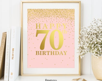70th Birthday Sign, 70th Birthday Print, 70th Birthday Poster, Set of 2 Printables, 70th Birthday Banner, Pink and Gold