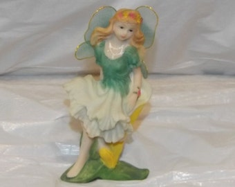 Vintage Knick Knack Fairy Sitting in a Flower- Fabric Wings with Golden Trim
