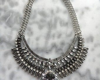 BOHO Crystal Bib Statement Collar Necklace
