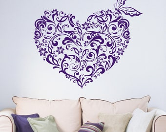 Floral Love Heart Butterfly Romantic Vinyl Wall Art Sticker Decal Bedroom Living Room