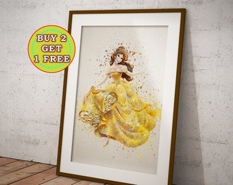 Princess Belle Poster, Beauty and the Beast, Belle Watercolor, Belle Print, Belle Disney Princess Poster Belle Wall Art, OC-871