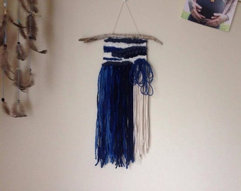 Weaving, wall tapestry - cream, blues trio