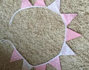 Handmade bunting- pretty pinks & hearts- 10 flags