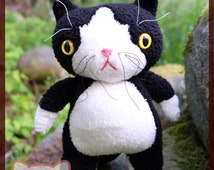 Black and White Tuxedo Cat plush - Tuxedo kitten plushie - b&w cat - tuxedo cat stuffed animal