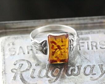 Art Deco Amber Resin Ring Sterling Silver - Boho Vintage Ring 925 - Size 7.5