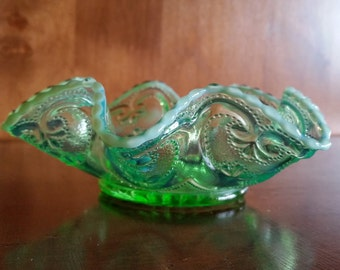 EAPG Northwood/Dugan Cashews Green Opalescent Candy Dish/Bowl