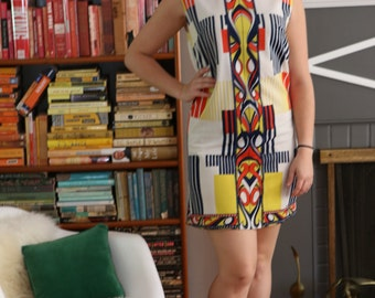 60s style shift dress made from vintage fabric
