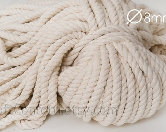 Beige cotton rope 8mm Natural color cotton cord Cotton twisted rope Decoration rope Craft supplies Nautical decor / 5 meters