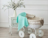 Mint baby blanket - Mint Linen knit blanket - Linen Baby throw - Newborn blanket - Baby shower gift - Strollers blanket - Mint linens