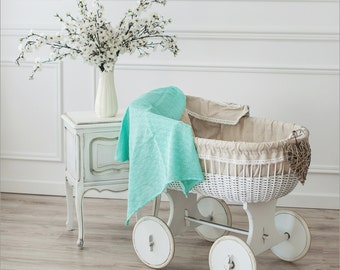 Mint baby blanket - Mint Linen knit blanket - Linen Baby throw - Newborn blanket - Baby shower gift - Mint linens