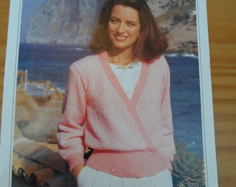 Original vintage knitting pattern for Lady's crossover jacket.  Pattern by Wendy using double knitting wool.