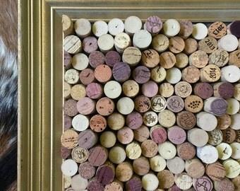 "Natural Ripple Effect Cork Board in Vintage Wood Frame - 27.5"" x 16"""