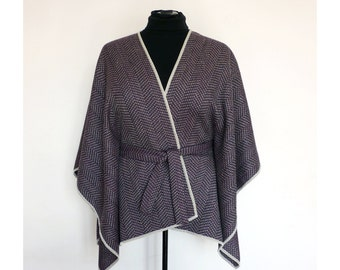 PONCHO OVERSIZE XXXL Violet Made of Medium Weight Wool xxl xxxl Mantle Cape