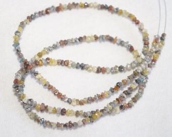 ON SALE 50% White Diamond, Yellow Diamond, Red Diamond, Raw Uncut Diamonds, Rough Diamond Chips, 1.5mm To 3mm Beads, 16 Inch Strand