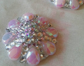 Pink and Crystal burlesque pasties, nipple tassels,  nipple covers