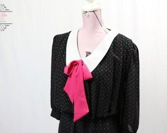 Vintage Black Pink Blue Print Secretary Dress Size M/L