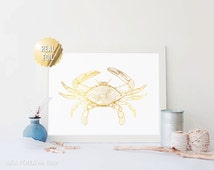 Blue Crab Art - Blue Crab Print - Real Gold Foil - Maryland Blue Crab - Blue Crab Nautical Art Prints - Nautical Art - Nautical Art Crab