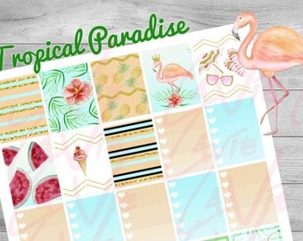 Printable Planner stickers, Tropical Paradise, Pineapple Flamingo Stickers, weekly planner, use with Erin Condren, instant download, summer