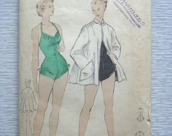 vintage 4869 Butterick BATHING SUIT and Beach Coat sewing pattern