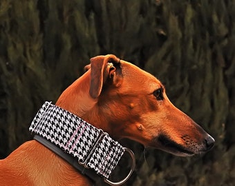 Martingale galguau collar houndstooth in black and white 5 cm
