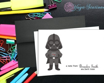 Personalized Darth Vader Stationery / Custom Star Wars Stationery / Star Wars Thank You Card Set / Custom Boy Stationery / Set of 12