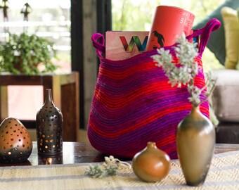 Multi-purpose Utility Basket - Upcycled Fabric - Large