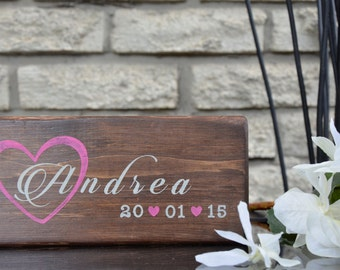 Personalized name wood sign, baby name wooden block, baby room decor, girl's room decor, baby shower gift, nursery decor for girls, name art