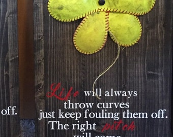 Softball life curves flower quote