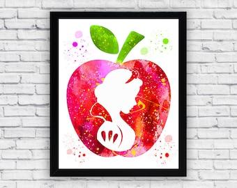 Snow White Watercolor printable, Printable Wall Art, nursery decor, wall decor, home decor poster