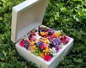 Wedding Ring Bearer Box, Wood Ring Box, Wooden Ring Box. Colorful Flowers, Square, Wedding Ring Holder, Ring Pillow Alternative, purple pink