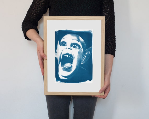 Meme Bat Boy, Cyanotype Print on Watercolor Paper, A4 size