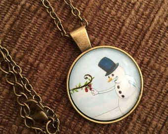 Snowman necklace - gift boxed
