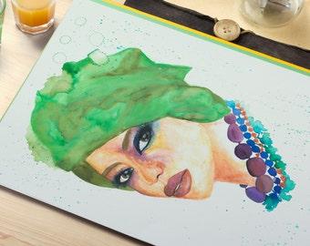 African Woman Watercolour Portrait