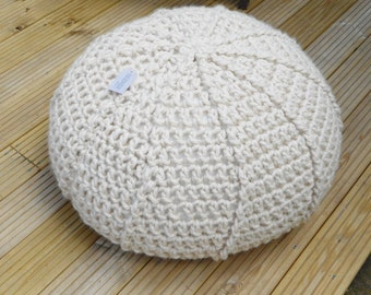 Hand Crochet Pouffee in Acrylic and wool Blend