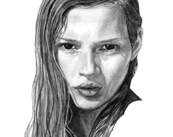Kate Moss Graphite Digital Print