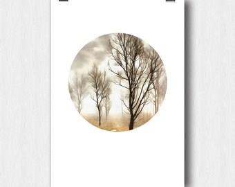 Printable Digital Poster,  Drawing on photos, Digital Art, Trees, Autumn Landscape