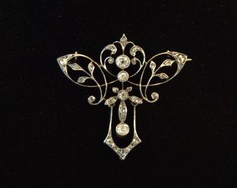 Art Nouveau 18 K Gold Platinum Diamonds Brooch Pendant brooch pendant detachable Platinum gold diamonds