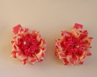 Set of 2 Pink Flower Hair Clips, Alligator Clips, Girls Hair Clips