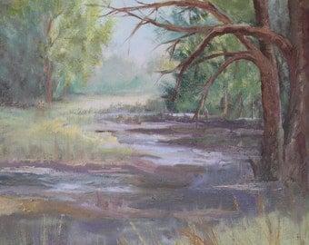 "Original Oil, ""Wonders of the Woods"", River Oil Painting"