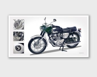"Vintage Motorcycle Art Print - Poster #2 - Bob Logue Bikes Collection - 25""x13"""