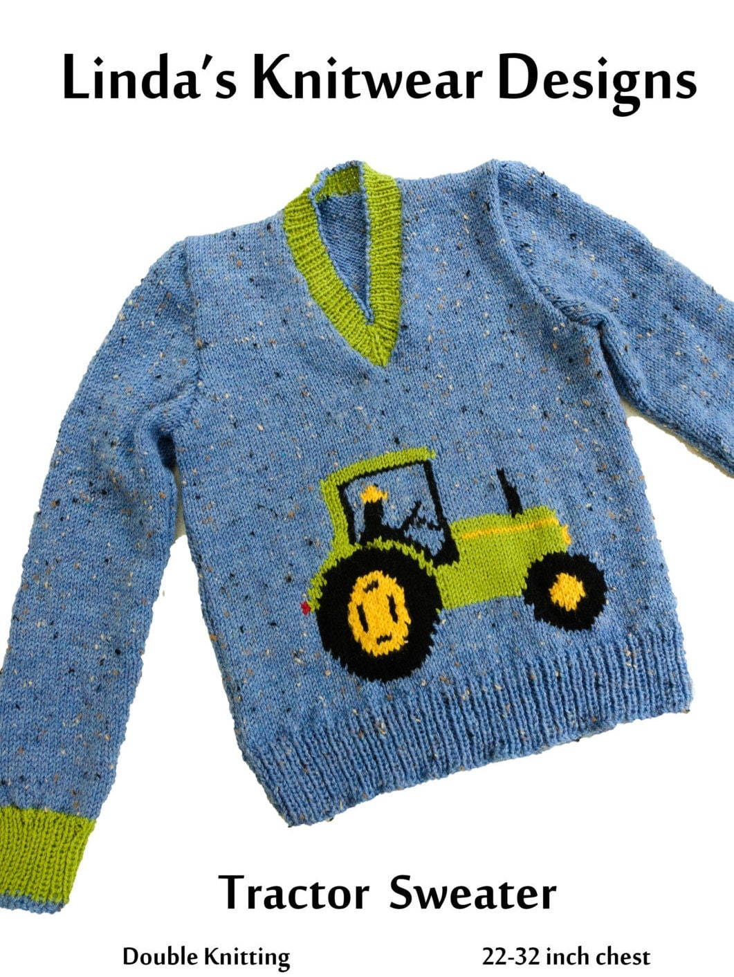 Childrens Tractor Motif sweater knitting pattern, sizes 22 to 32 inch ch...
