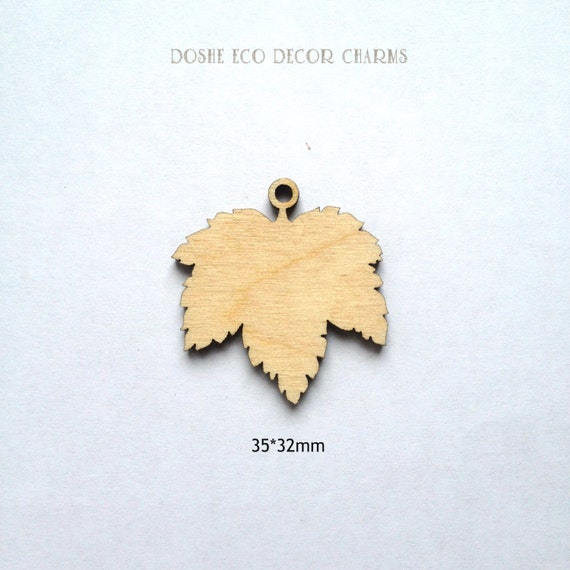 Unfinished Laser Cut CURRANT Leaves Wood Pendant