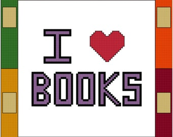 I Heart Books Cross Stitch Pattern PDF Digital Download