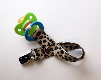 Cheetah Pacifier Clip