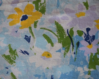 Vintage Fashion Manor Penn-Prest Vintage Muslin Blue Floral Fitted Bed Sheet- Double