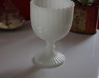 Vintage Milk Glass Compote / Goblet Planter Diamond Pattern Perfect for Succulents