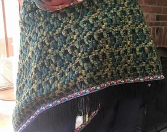 Handmade felted wool shawl